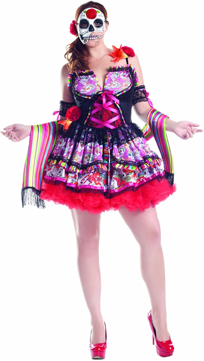 Plus size day of the dead skull print dress costume