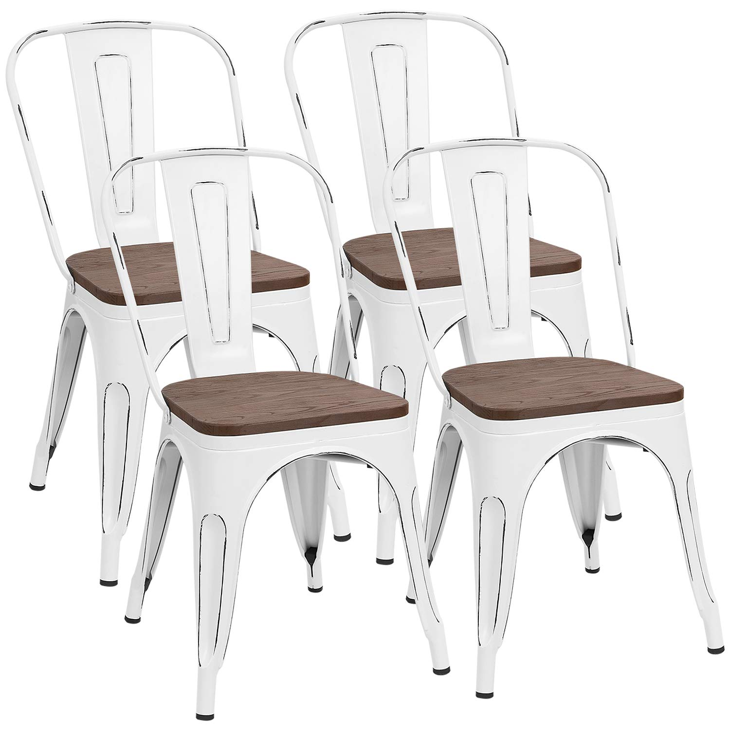 Furmax Metal Dining Chair with Wood Seat,Indoor-Outdoor Use Stackable Chic Dining Bistro Cafe Side Metal Chairs (Set of 4) (White Distressed)