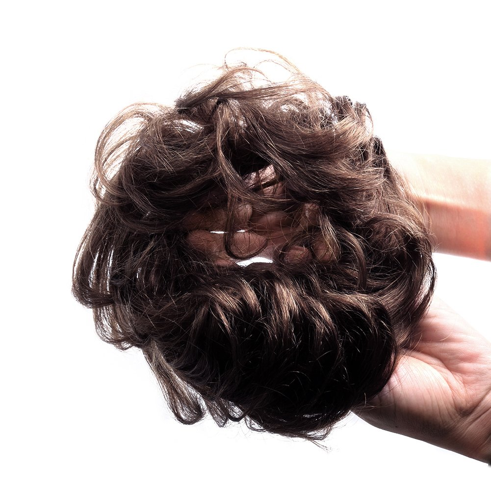 Bella Hair 100% Human Hair Scrunchie Bun Up Do Hair Pieces Wavy Curly or Messy Ponytail Extension (#2 Dark Brown) by Bella Hair