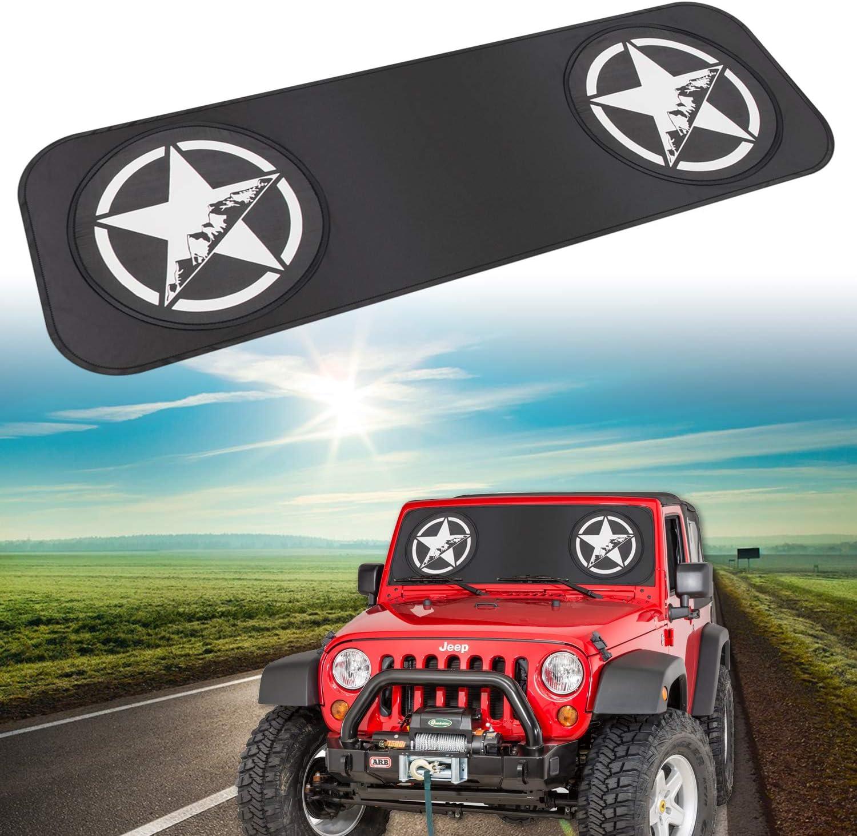 Car Windshield Sunshade for 1985-2018 Jeep Wrangler JK,TJ,LJ,YJ Sun Visor Protector Folding Window/Sun Shade Blocks UV Rays Star Style