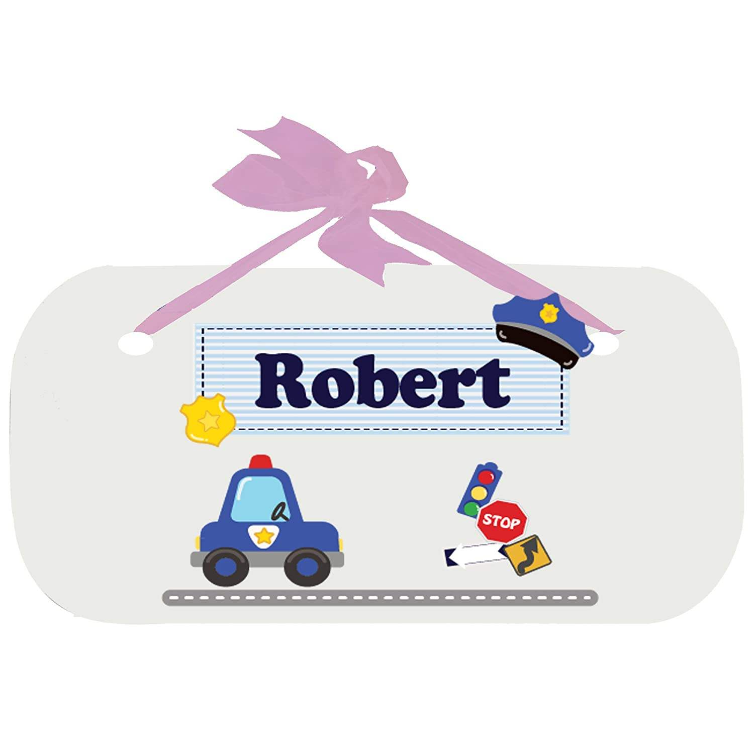 Personalized rtdPolice Nursery Door Hanger Plaque with pink ribbon MyBambino wplaq-pin-215e