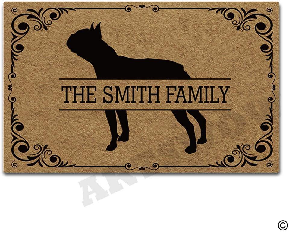 Artswow Doormat Boston Terrier Personalized Family Name Door Mat Decorative Indoor/Outdoor Entrance Floor Mat 30 Inches by 18 Inches