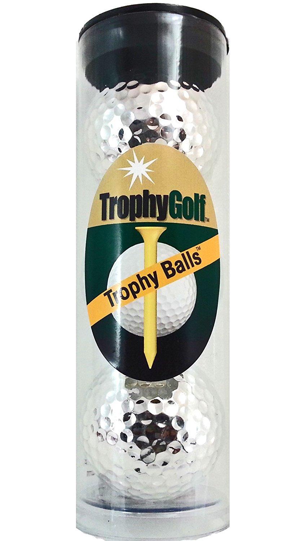 TROPHY GOLF 3 Shiny Golf Balls, Silver [並行輸入品] B072Q95KLJ