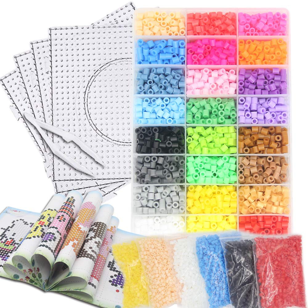 H&W 10000pcs 24 Colors 5mm Fuse Bead Kits for Kids【Upgrade Version】, Add Color Number & Supply Refill Bag, 1:1 Bead Idea Book, 6 Colors Refill Bag, 2 Tweezers, 4 PegBoards, 5 Ironing Paper, Parts by H&W