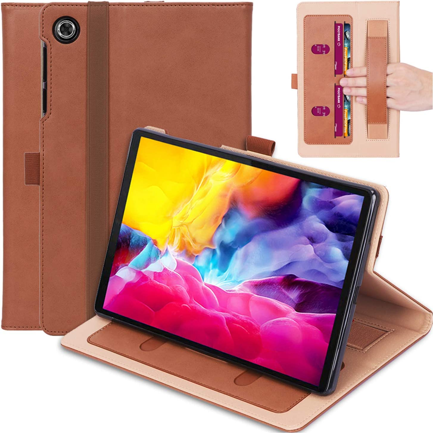 Timewall Multi-Angle Stand Case for Lenovo Tab M10 HD TB-X505F TB-X505N TB-X505L 10.1 Inch Tablet 2019, with Hand Strap Card Cash Slot Elastic Band Pen Holder PU Leather Smart Full Cove Brown