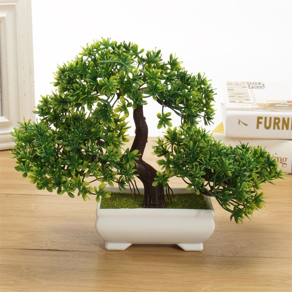 Amyove Bonsai Tree Artificial Plant, Mini Creative Fake Plant, Not Faded No Watering Potted for Office Home
