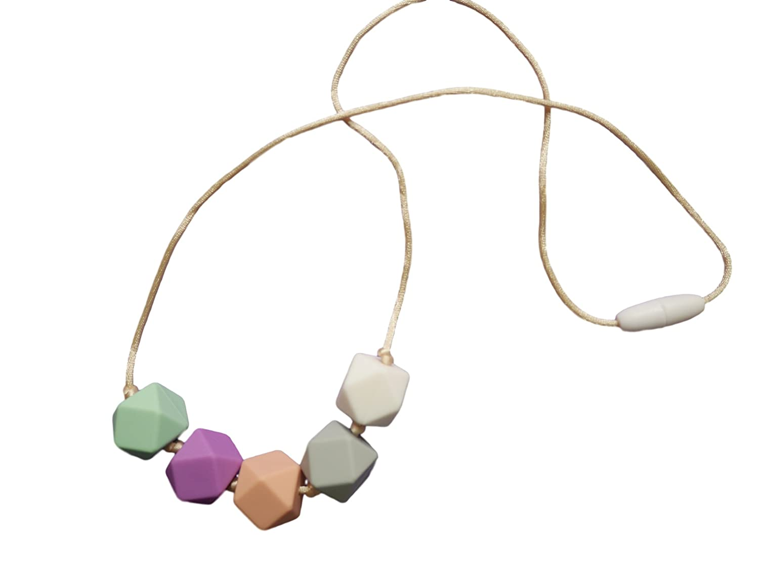 Fancy Pastel Crayon Colours Silicone Teething Necklace Breastfeeding Baby Hexagon Knotted Beads BPA Free, Hand-Made by MilkMama
