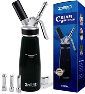 ZOEMO Profesional Whipped Cream Dispenser - Ugraded Full Metal Cream Whipper Canister, w/Durable Metal Body & Head with 3 Stainless Steel Decorating Tips (Professional Black 500 ML)