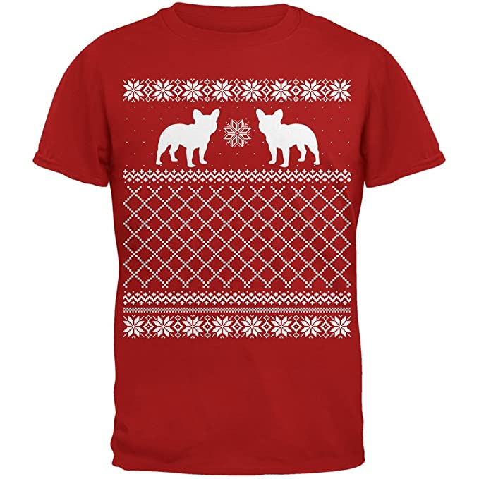 french bulldog ugly christmas sweater red adult t shirt small