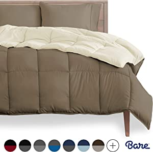 Bare Home Reversible Comforter - Queen Size - Goose Down Alternative - Ultra-Soft - Premium 1800 Series - Hypoallergenic - All Season Breathable Warmth (Queen, Taupe/Sand)