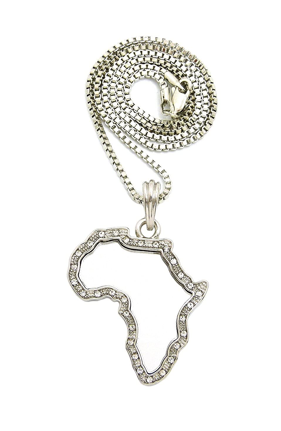 Silver-Tone NYFASHION101 Stone Stud Edge Africa Continent Mirror Pendant with 2mm 24 Box Chain Necklace