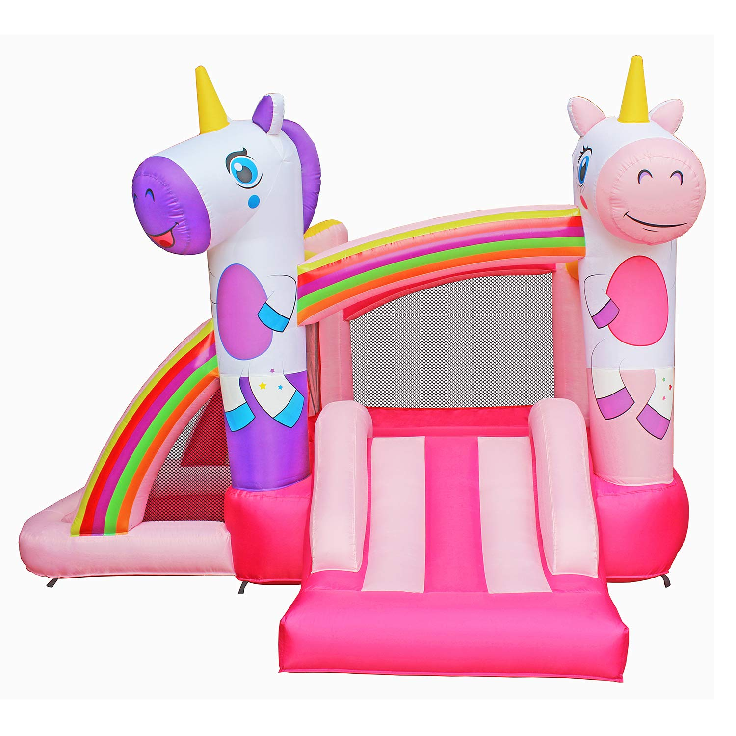 BESTPARTY Inflatable Bounce House with Slide for Princess Pink Unicorn Inflatable Bouncer House Jumper Houses by BESTPARTY (Image #3)