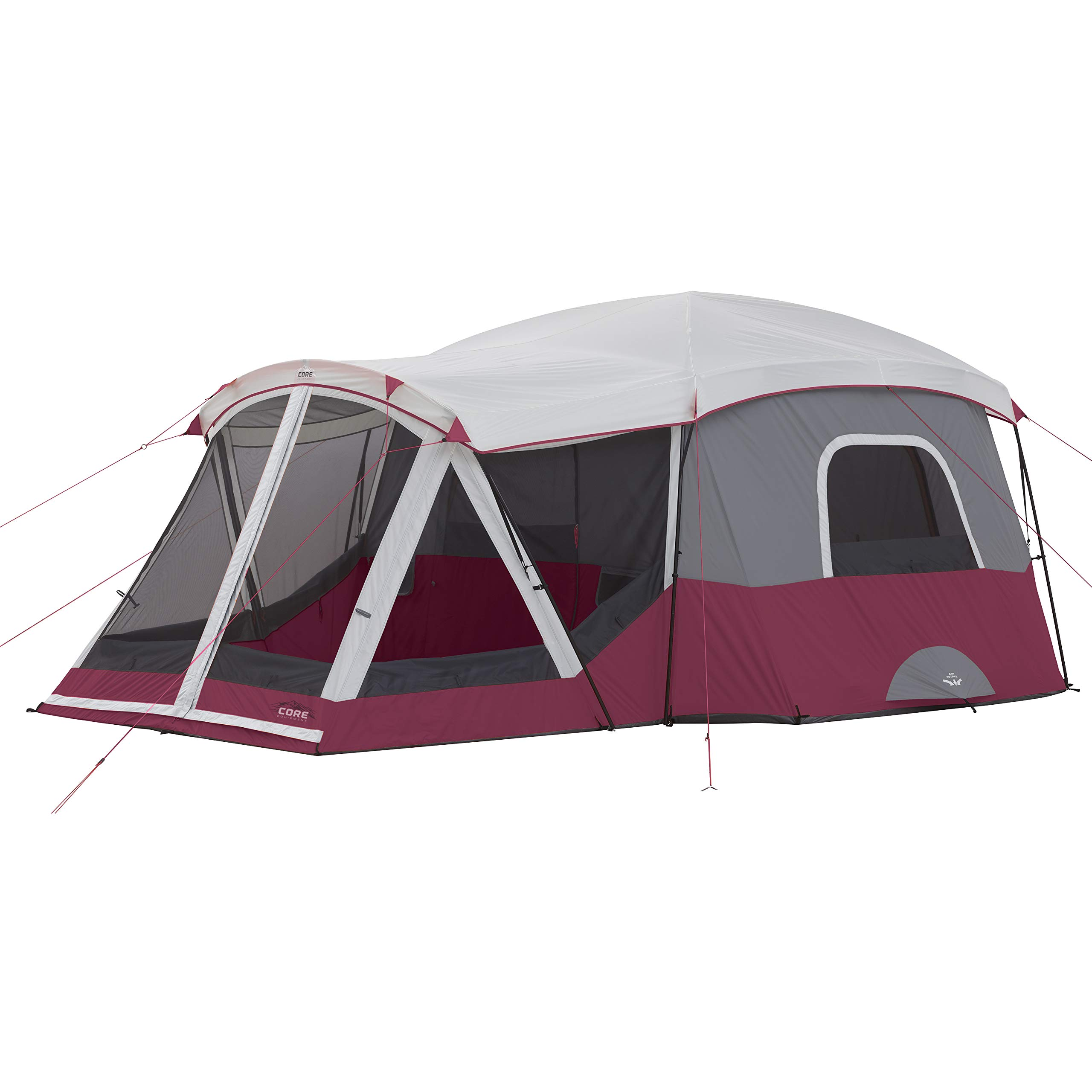 CORE 11P Cabin Tent with Screen Room (Wine) by CORE
