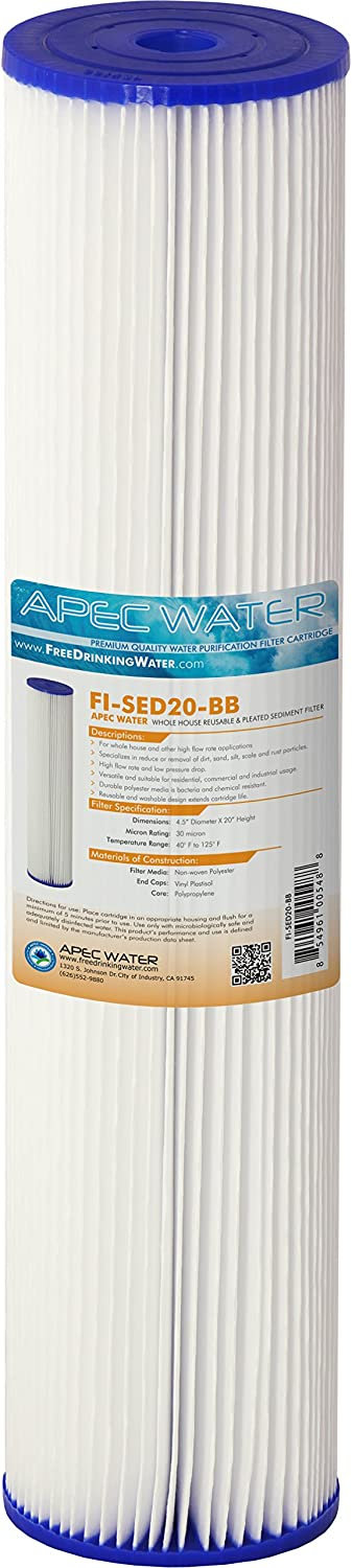 "APEC Water Systems 20"" Whole House Sediment Replacement Filter Reusable and Pleated (FI-SED20-BB)"