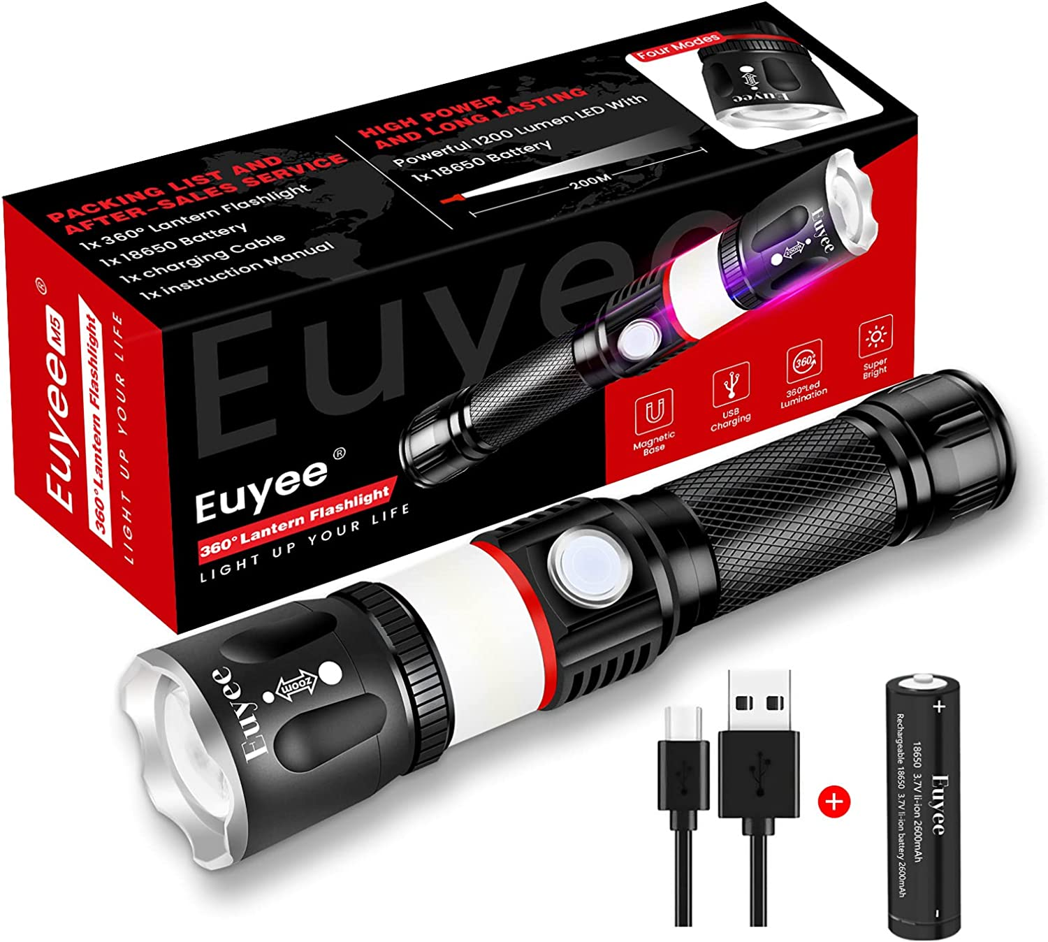 Details about  /2Sets 350000LM LED Flashlight Rechargeable Powerful Zoomable Torch Aluminum lamp