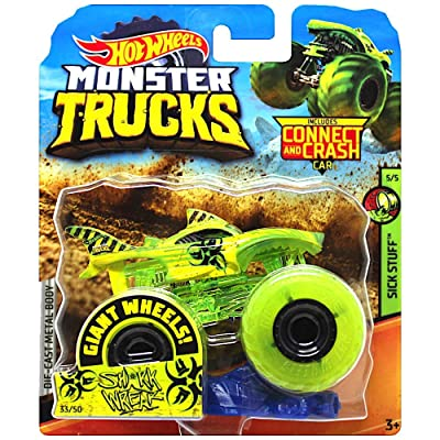 Shark Wreak Giant Yellow Wheels Monster Trucks with Connect & Crash Car: Toys & Games