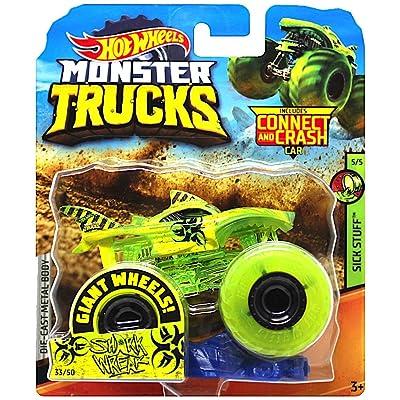 Shark Wreak Giant Yellow Wheels Monster Trucks with Connect & Crash Car: Toys & Games
