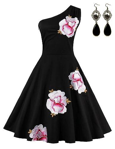 Sitengle Donna Elegante Vestiti Ricamo Monospalla a Pieghe Linea ad A Vestito Abiti da Sera Vestito