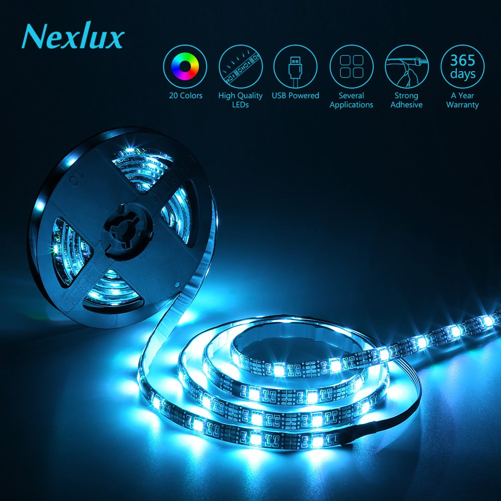 Nexlux TV Backlight, 9.8ft Black USB LED Strip Lights Kit TV Lights 20 Colors 5050 LEDs Bias Lighting with 44-Key IR Remote Controller for 46 inch~65 inch HDTV PC Monitor Home Theater Decoration by Nexlux (Image #4)