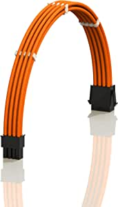 LINKUP - 30cm EPS 8 (4+4) P CPU ATX Motherboard PSU Power Supply Braided Sleeved Custom Mod PC Extension Cable w/Combs┃Strong & Stiff Design┃Single Pack┃300mm - Orange