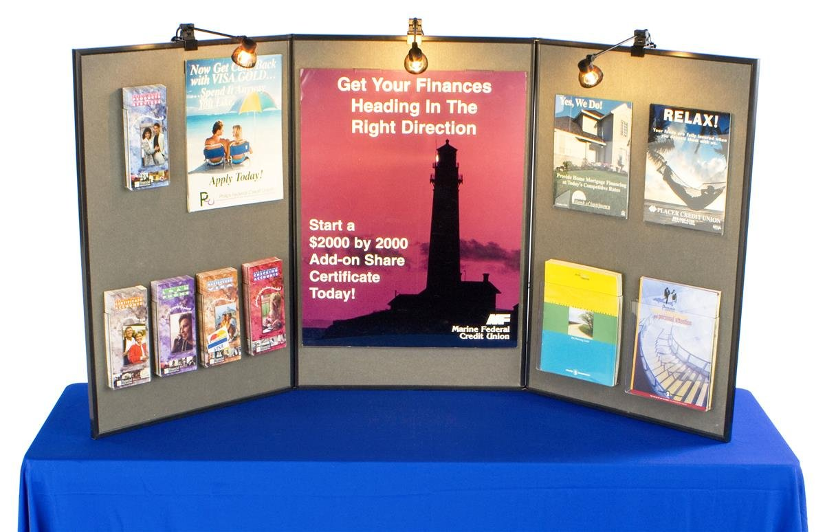 Tri-Fold Double-Sided Exhibition Display Board with Gray Fabric, 72 x 36, Includes 3 Halogen Spotlights by Displays2go