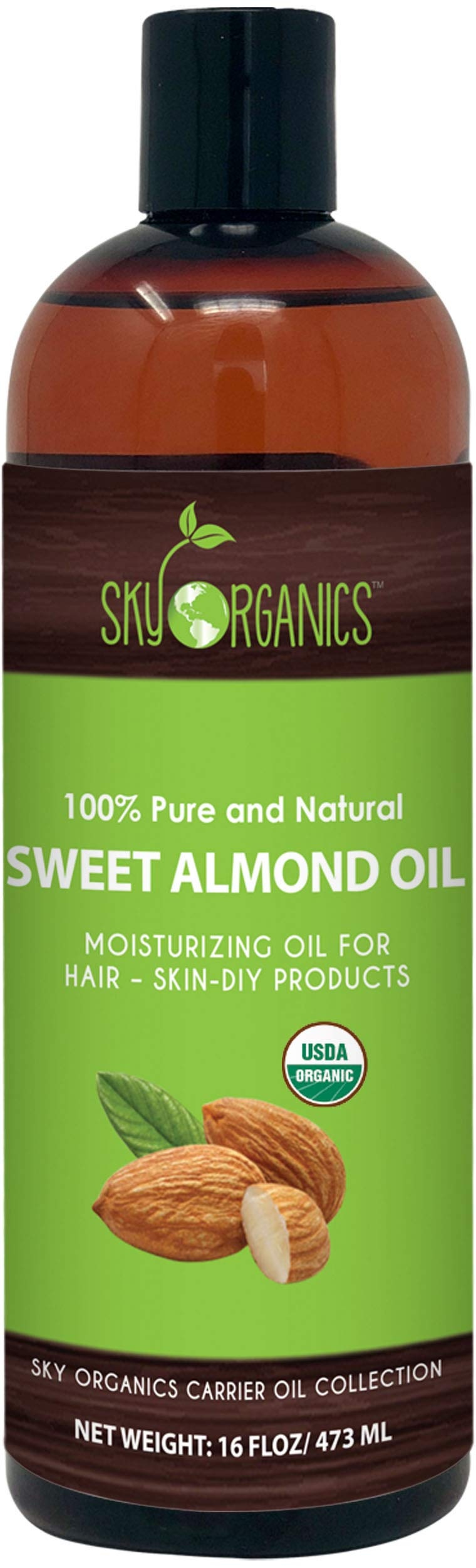Sweet Almond Oil by Sky Organics 16oz- 100% Pure, Cold-Pressed, Organic Almond Oil. Great As Baby Oil- Anti- Wrinkles- Anti-Aging. Almond Oil- Carrier Oil for Massage.Bath (1 Pack) by Sky Organics