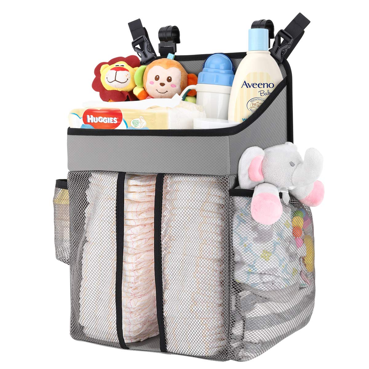 Zooawa Hanging Crib Organizer, Large Capacity Hanging Diaper Caddy Nursery Bag Crib Diaper Organizer for Diapers Wipes Baby Essentials Storage - Gray by Zooawa