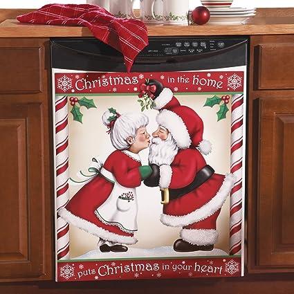 amazon com kissing santa christmas kitchen dishwasher cover large