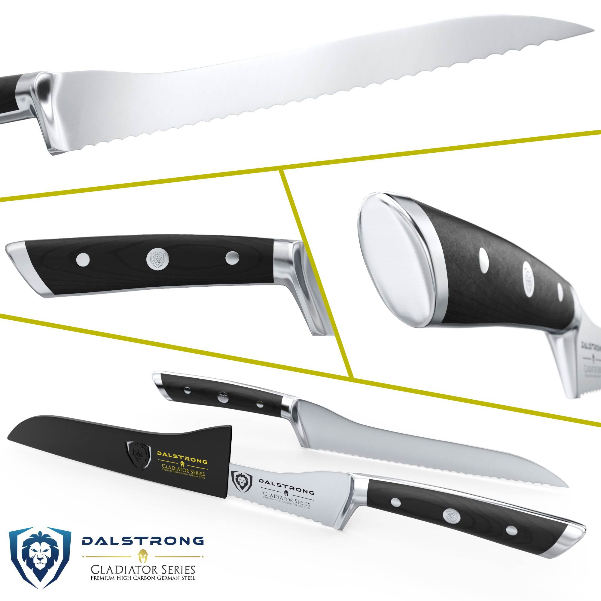 DALSTRONG Serrated Offset Bread & Deli Knife - Gladiator Series- 8''- German HC Steel - Guard Included by Dalstrong (Image #2)