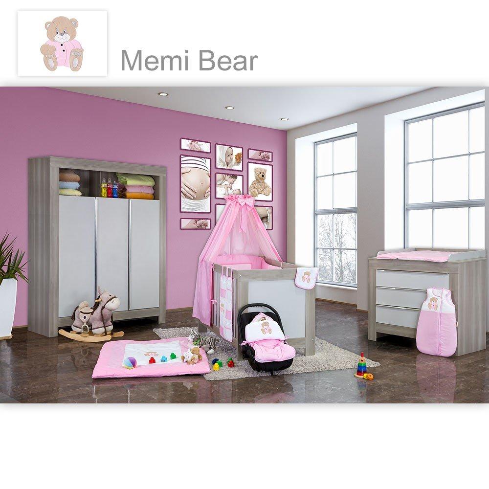 Babyzimmer Felix in akaziengrau 10 tlg. mit 3 türigem Kl. + Set Memi Bear Rosa