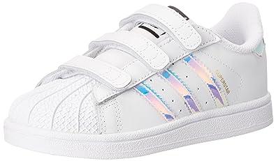 e9dd48a42ba adidas Originals Boys' Superstar CF I-K Running Shoe, White/Metallic  Silver, 4