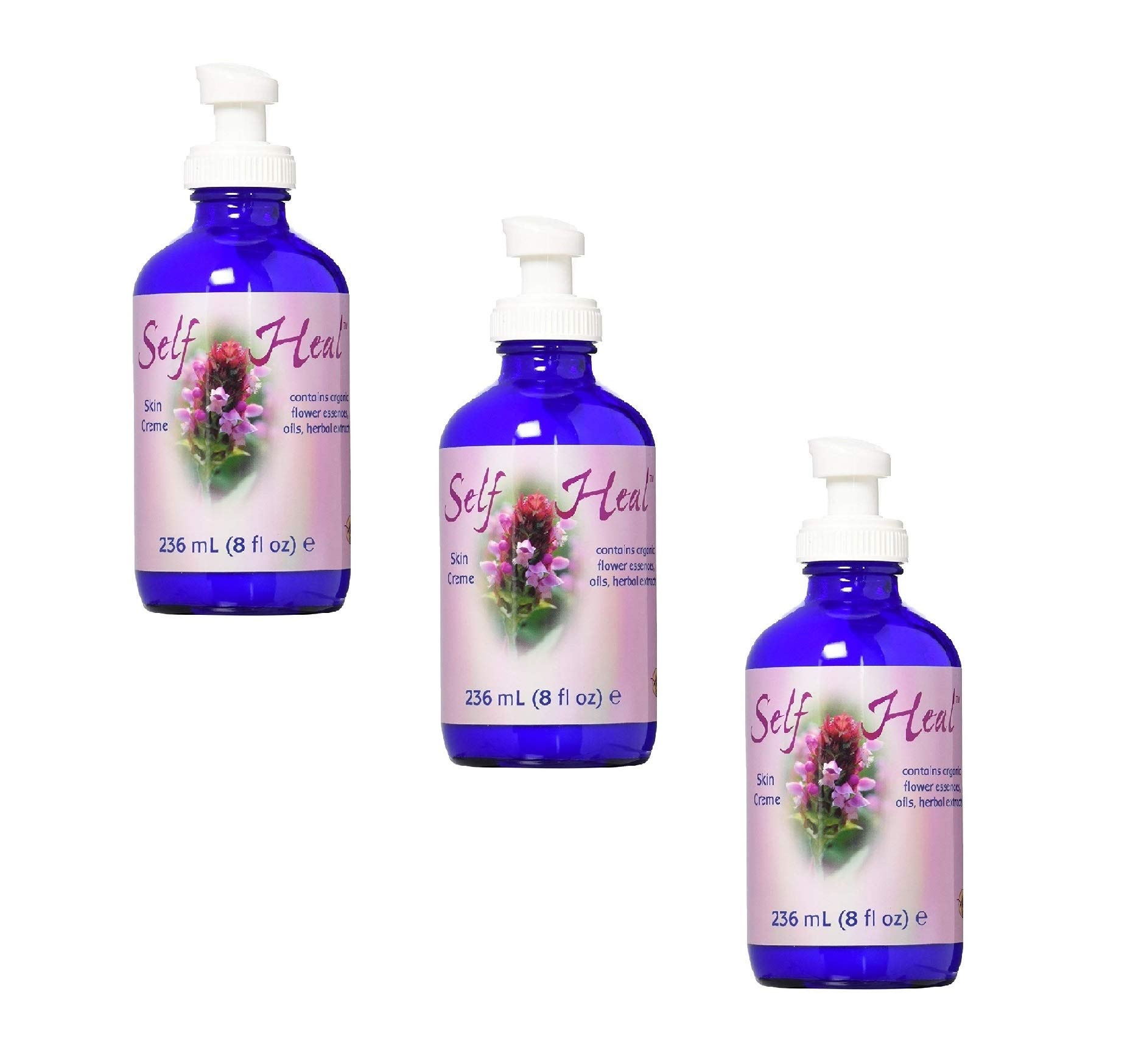 Flower Essence Services Self-Heal Cream Pump Top, 8 Ounce (3 Pack)