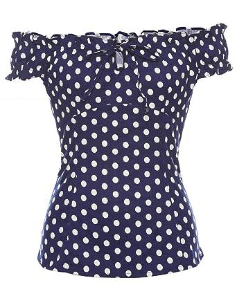 d2299631759c3 ZAFUL Women Dot Print Short Sleeve Off Shoulder Slim T-Shirt Summer Tops  Tee Blouses(Blue