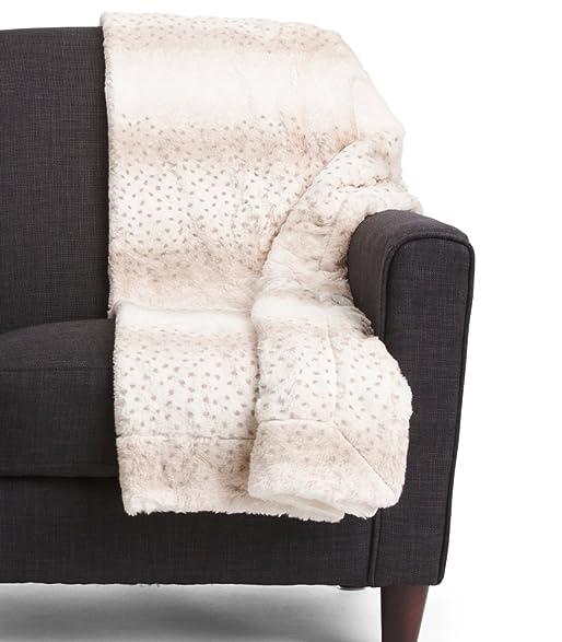 Cynthia Rowley Faux Fur Throw Blanket Ultra Soft Plush Blanket In Spotted  Libra Print Ivory Tan