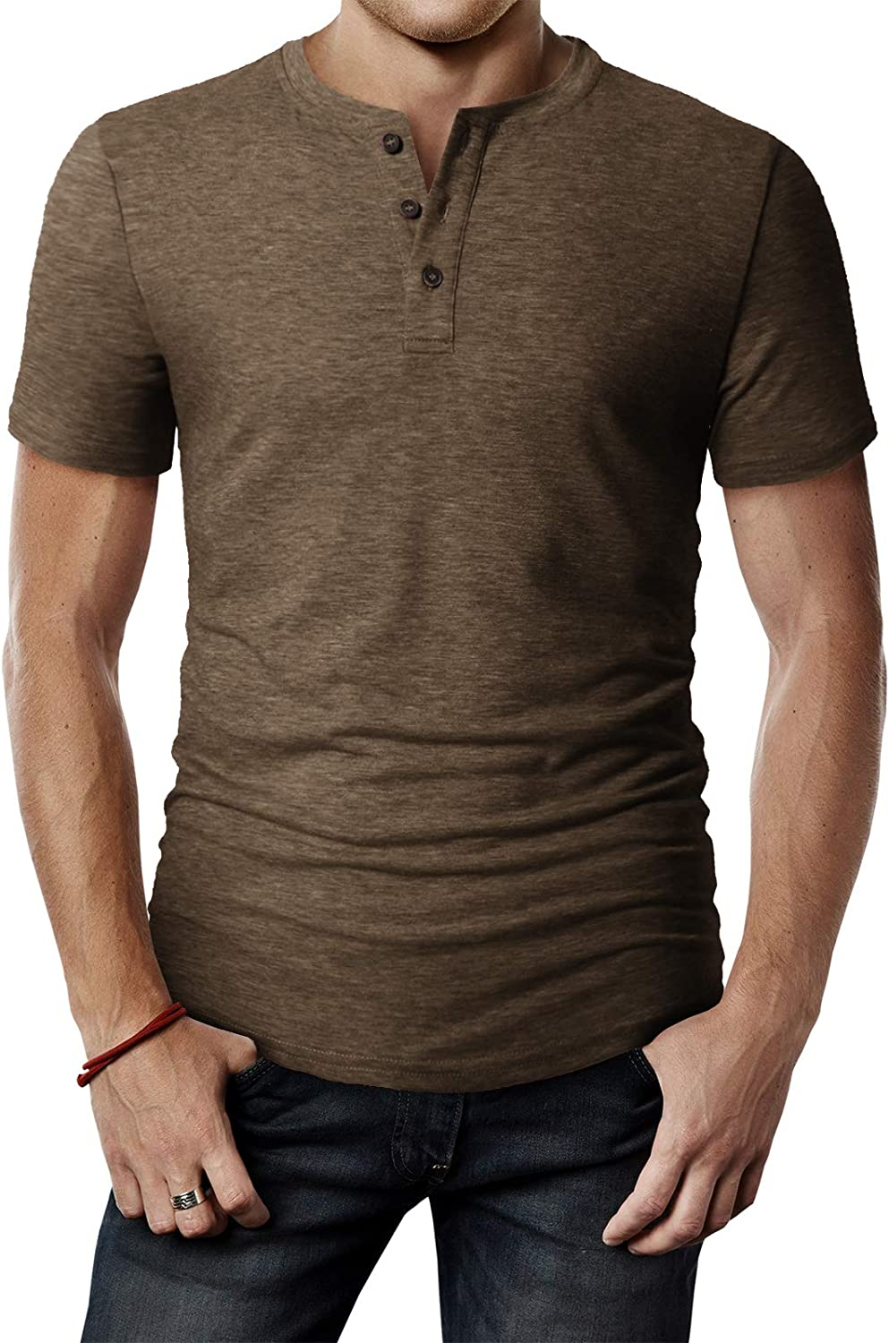 H2H Mens Casual Premium Slim Fit Henley T-Shirts Short Sleeve Lightweight