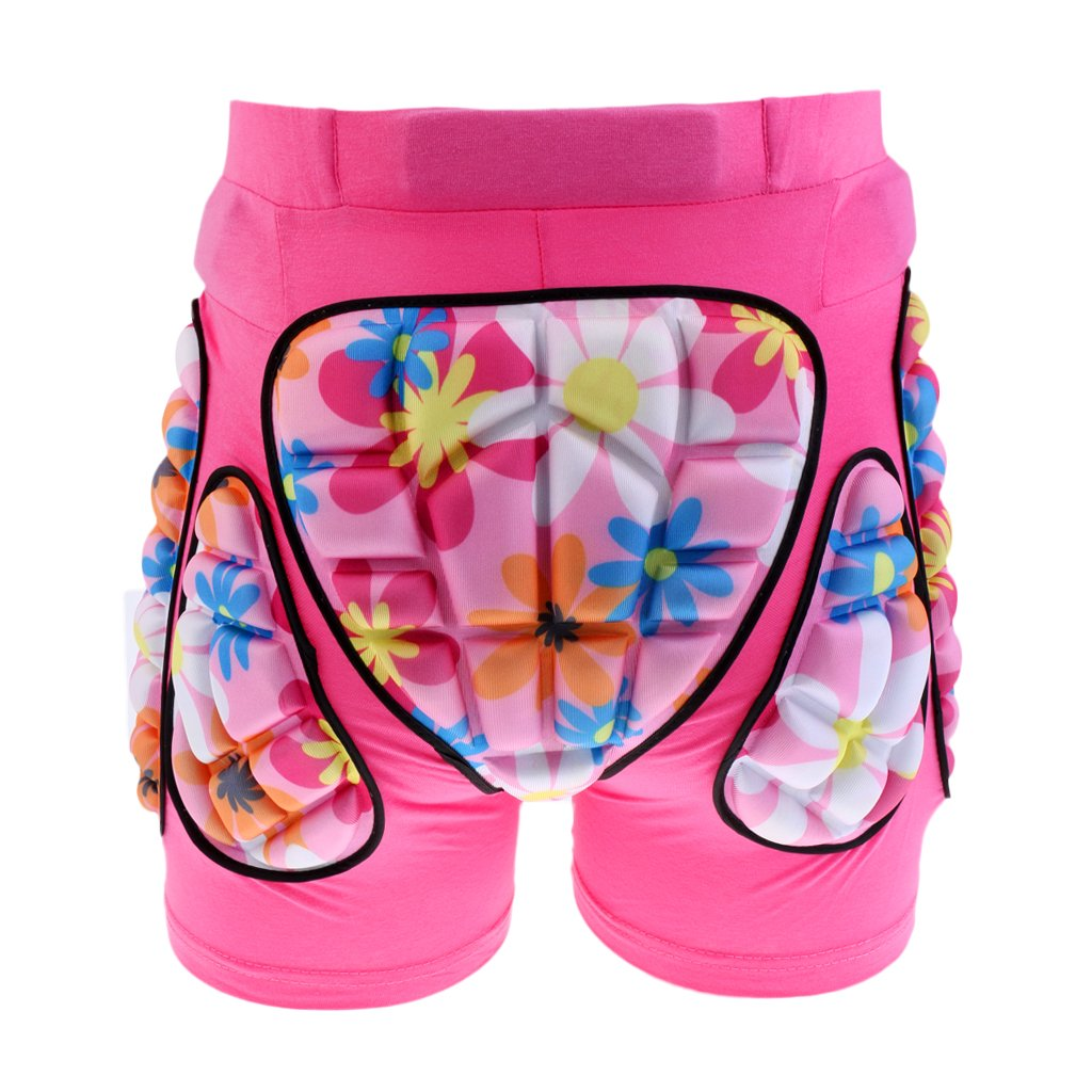 MonkeyJack Kids Children Hip Pad Protector Guard Ski Roller Skating Snow Board Cycling Padded Shorts - Pink, M