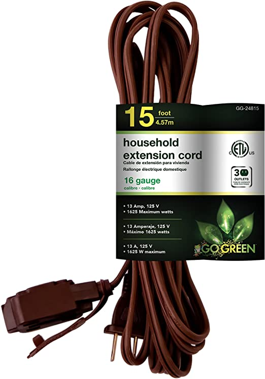 GoGreen Power GG-24815 16/2 15' Household Extension Cord - Brown