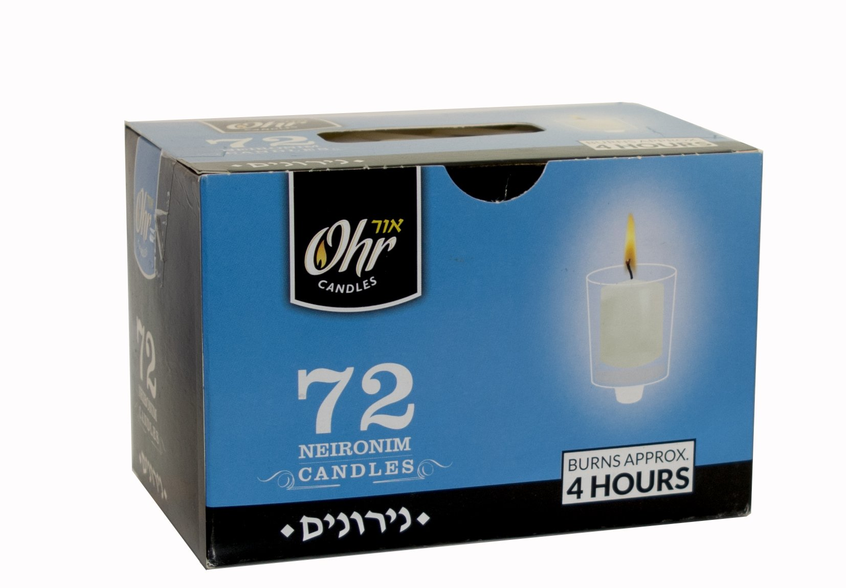 Ohr 4 Hour Neironim Candles - Shabbat and Small Votive Wax Candle - 72 Count - by