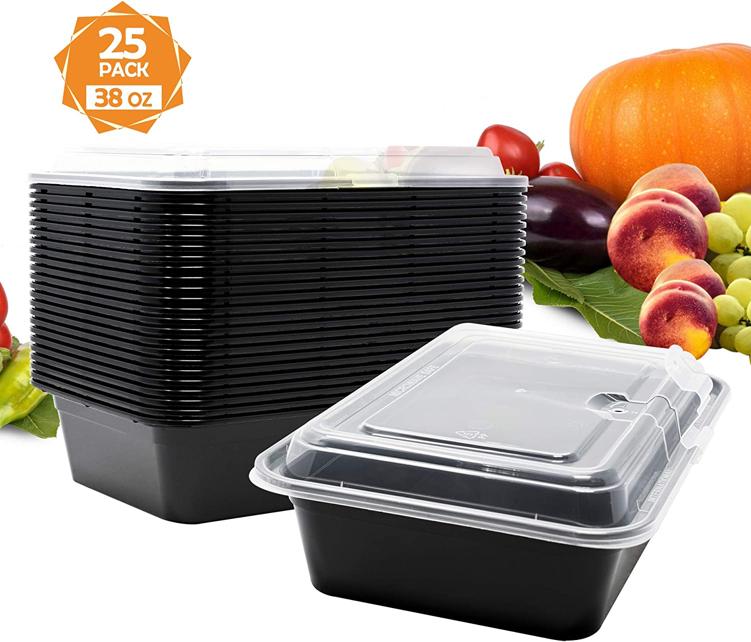 Whale Family, Meal Prep Containers - Reusable Plastic Containers with Vented Lids - Patent Protected Design - BPA-Free Food Bowls - Plastic Storage Containers - Microwave Safe (Black, 38oz, 25-Pack)