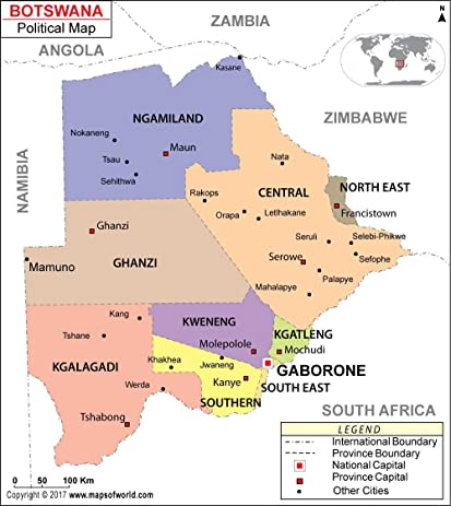 Amazoncom Political Map of Botswana 36 W x 4043 H Office