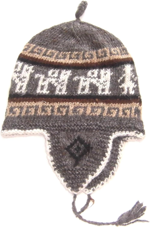 NEW ANDEAN ALPACA Handmade Hat lluchu Dark Red REVERSIBLE