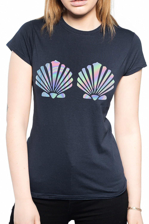 Black Mermaid Shell Holographic Tshirt S M L XL XXL