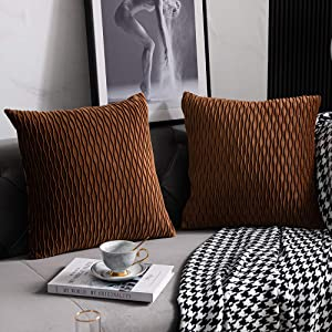 DEZENE Light Brown Throw Pillow Cases: 2 Pack 24x24 Inch Original Stripe Velvet Square Decorative Pillow Covers for Farmhouse Couch