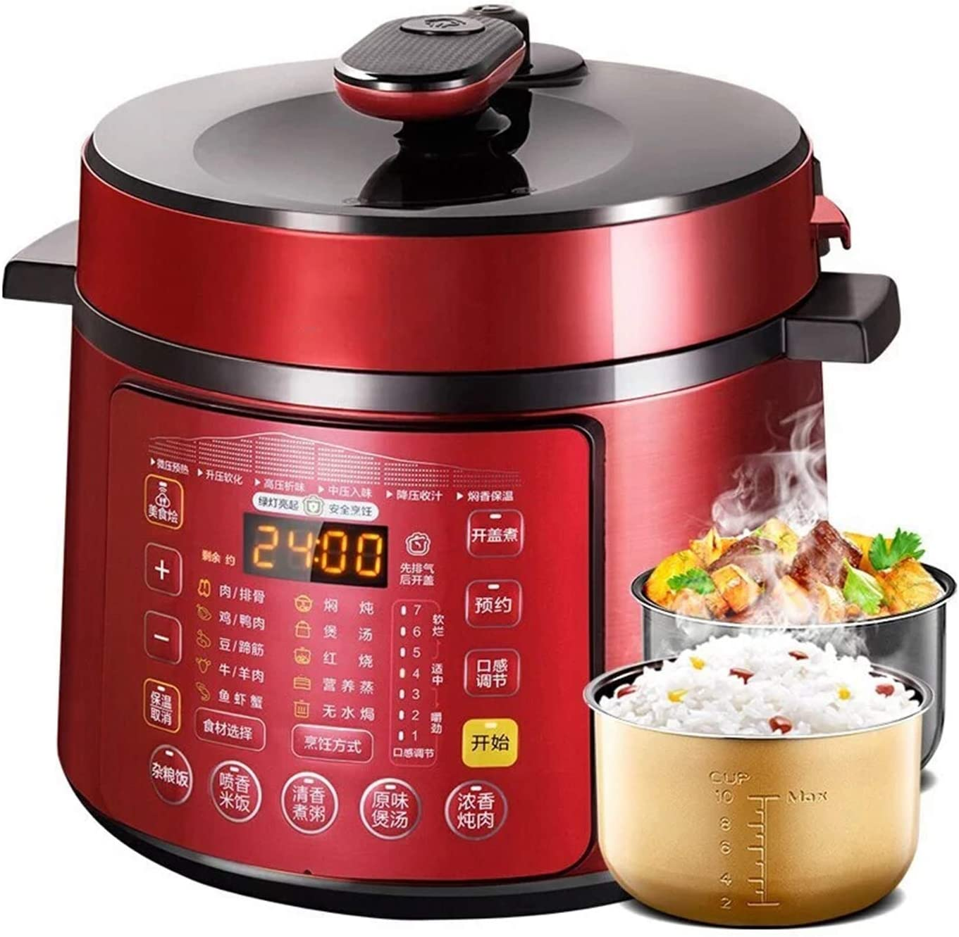 NDHENG Electric Pressure Cooker, Slow Cooker, Rice Cooker, Steamer, 5 L, 15 One-Touch Programs