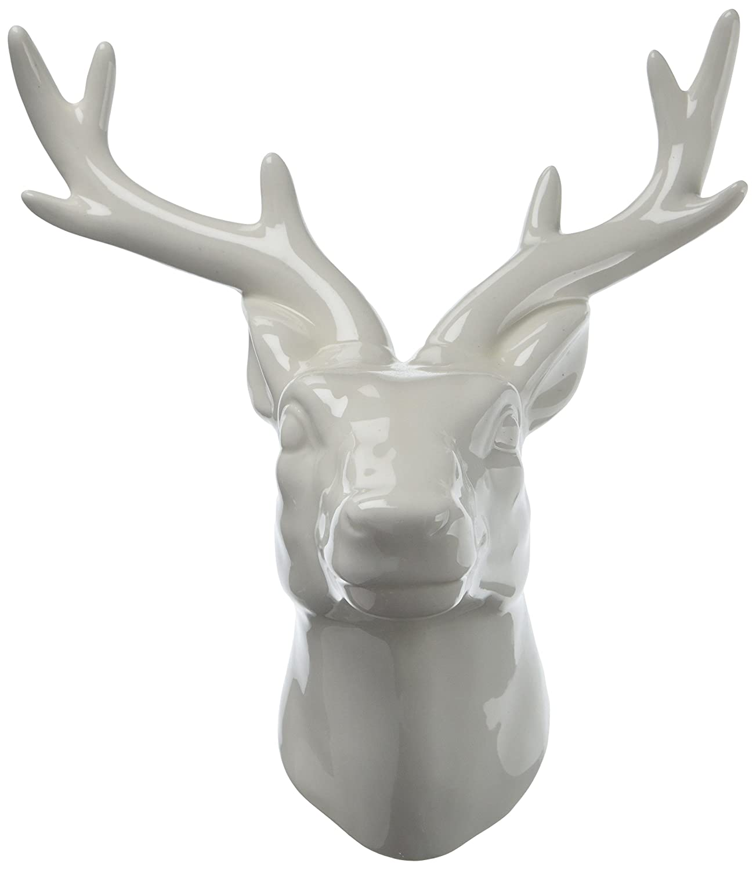 Amazon urban trends ceramic deer head wall decor gloss finish amazon urban trends ceramic deer head wall decor gloss finish white home kitchen amipublicfo Images
