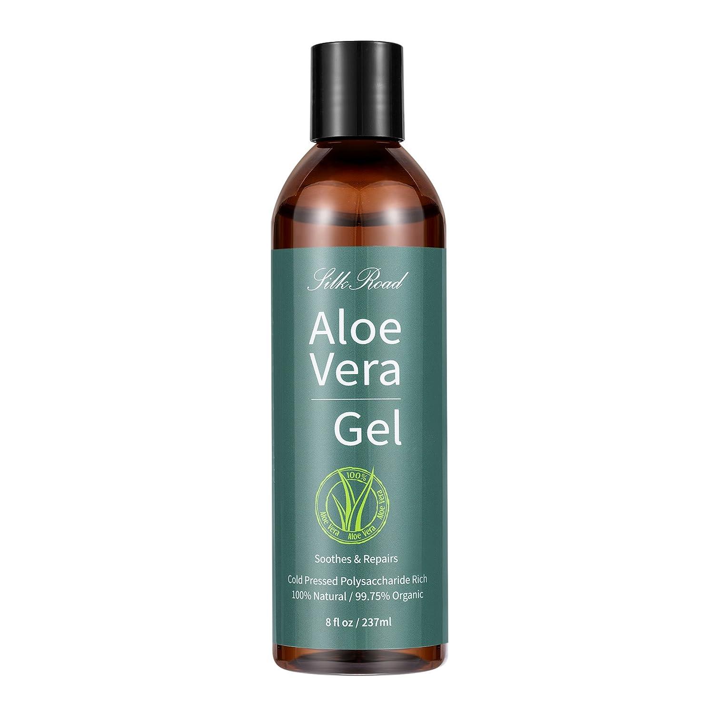 Silk Road Aloe Vera Gel Organic for Face, Hair, Sunburn, Acne, Razor Bumps, Psoriasis, Eczema, 99% Natural Organic 8 fl oz