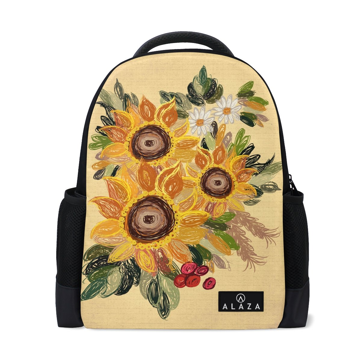 845cc26f2f8e Amazon.com: ZOEO College Backpack Vintage Sunflower Laptop Bookbags ...