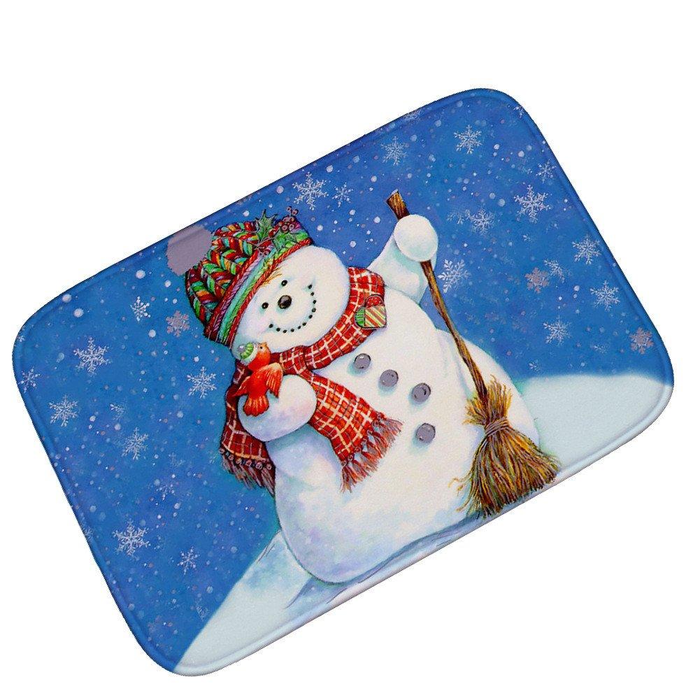 Pgojuni Cartoon Snowman Carpet New Year Christmas Living Room Door Mat 1pc 40x60CM (D)