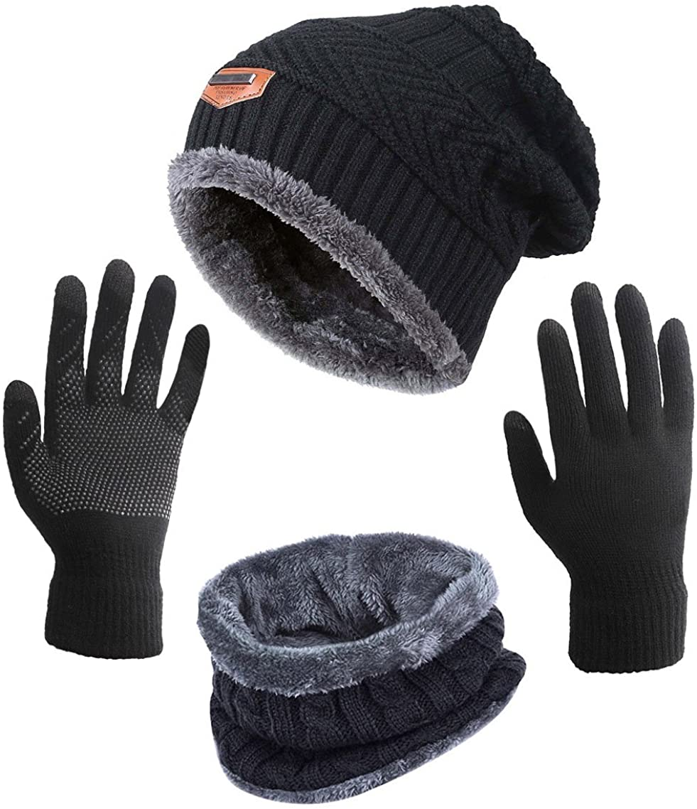 Winter Hat Scarf Gloves Slouchy Beanie Snow Knit Skull Cap Touch Screen Mittens Circle Scarves for Women Black at  Women's Clothing store