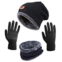 Winter Hat Scarf Gloves Slouchy Beanie Snow Knit Skull Cap Touch Screen Mittens Circle Scarves for Women